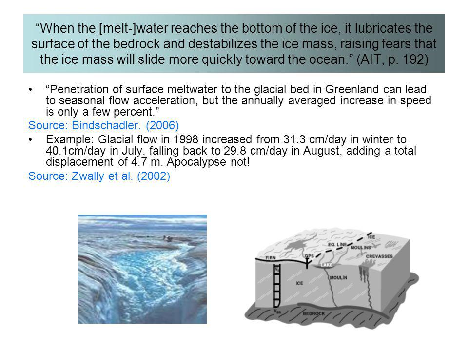 When the [melt-]water reaches the bottom of the ice, it lubricates the surface of the bedrock and destabilizes the ice mass, raising fears that the ice mass will slide more quickly toward the ocean. (AIT, p. 192)